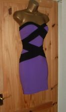 Jane Norman purple black strapless mini bandage bodycon party dress size 12 14