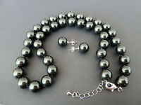 Natural AAA+ 8mm black shell pearl earring and 18'' necklace set