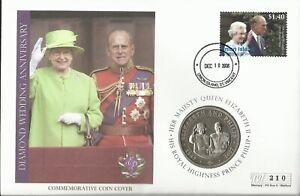 UNION ISLAND 2008 QE11 DIAMOND WEDDING ANNIVERSARY 1 DOLLAR COIN COVER 210