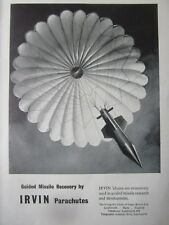 9/1959 PUB IRVING IRVIN PARACHUTE GUIDED MISSILE RECOVERY / RFD LIFERAFT AD