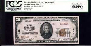 1929 $20 First NB of Freehold, NJ Fr. 1802-2 Ty.2 Ch.452 58PPQ PCGS #A000564