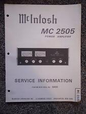 MCINTOSH MC 2505 POWER AMPLIFIER SERVICE INFO BULLETIN SER# 36K00        32