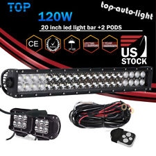 For  Cat ATV UTV Quad 4 Wheeler  20'' LED Light Bar +2x Led Pods + Wire Kit