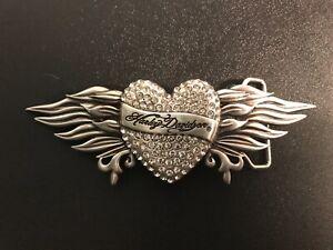 Harley-Davidson women's rhinestone heart&wings belt buckle.#97735-12VW.Silver