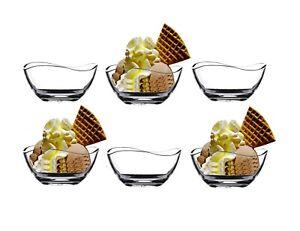 6 Ice Cream Bowl Sundae Glasses Appetizer Dessert Cocktail Fruit Glass 310ml