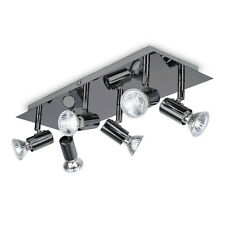 Large Modern Black Chrome 6 Way GU10 Kitchen Ceiling Spot Light Spotlight Lights