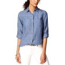 NWT $69.50 Charter Club Womens P/XL Blue Long Sleeve Linen Button Tab Shirt Top