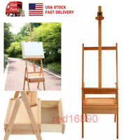 US  Wooden Easel Art Sketch Painting Board Tripod Stand Display with drawer Box