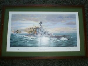 """FRAMED S W FISHER """"HMS HOOD THE FINAL MOMENT PRINT"""