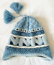 Girls Knit Winter Stripes Tassel Wool Hat Covers Ears Blue sz L