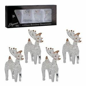 Christmas Pack of 4 Glass Ornament Decorations - 4cm Reindeers