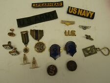 Collection of Vintage Cuff Links Medals & Lapel Pins-Horseshoe, Military & other