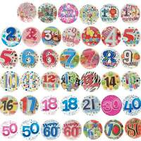 """JUMBO Badge Birthday Party All Milestone Ages Male Female Boy Girl Pink Blue 6"""""""