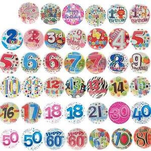 JUMBO Badge Birthday Party All Milestone Ages Male Female Boy Girl Pink Blue 6""