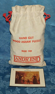 Lands End Hand Cut Wood Puzzle Optimago 308 Pieces Happy Christmas Cloth Bag HTF