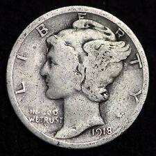 1918-P MERCURY DIME / CIRCULATED GRADE GOOD / VERY GOOD 90% SILVER COIN