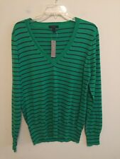 4373) NWT J CREW large L green navy blue stripe cotton pullover sweater v-neck