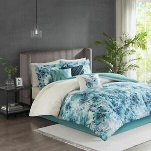 Chic 7pc Teal Blue Floral Watercolor Print Comforter Set AND Decorative Pillows