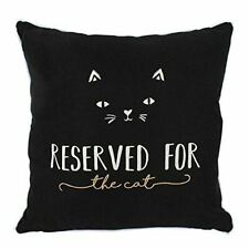'Reserved For The Cat' Soft Black Cushion 34cm