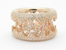 Rose Gold Sterling Silver Diamond Set White Sapphire Pave Design Eternity Ring
