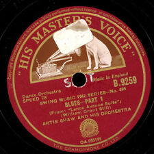 ARTIE SHAW & HIS ORCHESTRA   Blues Part 1 + 2    Schellackplatte  78rpm     X247