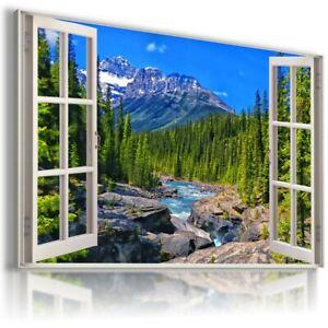 ALASKA WINTER MOUNTAINS RIVER 3D Window View Canvas Wall W509 UNFRAMED-ROLLED