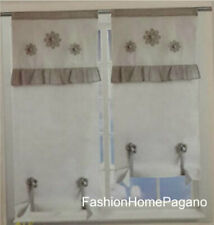 Coppie tendine a vetro regolabile a pacchetto floriana bordeuax 150x60 cm