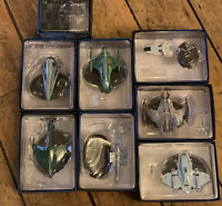 Lot Of 8 Star Trek Collectable Ships On Stamds Space  CBS Studios