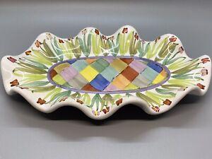 """Mackenzie Childs Unique Small Ruffled Platter 9"""" x 6"""""""