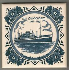 Holland America Line  Blue Delft Tile...Vintage.. ms Zuiderdam 1 ...1939 - 1941
