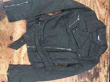 Muubaa Genuine Leather Biker Casual Smart Trendy Jacket Uk12 Khaki Greeen