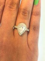14K Solid White Gold 1.5 ct Pear Teardrop Diamond Solitaire Engagement Ring