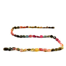 53.50 Cts / 14 Inches Earth Mined Drilled Watermelon Tourmaline Beads Strand