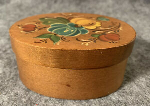 Vintage Hand Painted Tole Decorative Floral Oval Wood Trinket Box