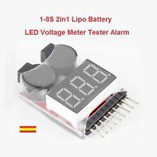 Probador Tester de Baterias Lipo con Alarma 1-8S 2 en 1 de 3,7 a 30 voltios
