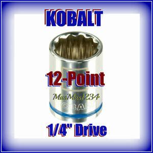 "KOBALT 1/4"" Drive Shallow Sockets - 12 Point - Chrome Vanadium Steel - Fast Ship"