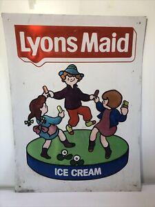 Vintage Original Metal Lyons Maid Ice Cream Sign