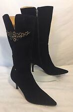 GUCCI Suede Leather Black Zippered Embellished Boots Womens US 6.5 M EUR 38