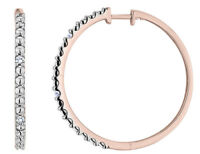 Diamond 1 Inch Hoop Earrings in Sterling Silver with Rose Pink Gold Plating