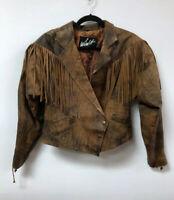 Vintage Winlit Fringe Leather Cropped Jacket Medium Coat Brown 80's Women's