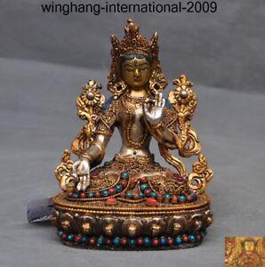 Tibet Nepal silver Filigree 24k gold inlay gem White tara Kwan-Yin Buddha statue