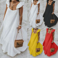 Womens Summer Ruffle Sleeveless Holiday Cocktail Party Loose A Line Swing Dress