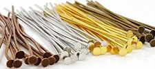 "50 pieces 1"" or 2"" Flat Head Pins Jewelry Making Beading 6 colors 20-gauge"