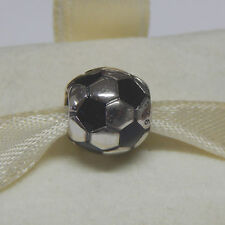 New Authentic Pandora Charm Soccer Ball  Black Enamel 790406 Box Included