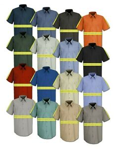 Red Kap Enhanced Visibility Hi Vis Reflective Safety Work Towing Uniform Shirts