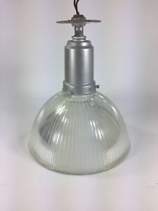 Vintage Holophane Glass Shade Light Fixture Excellent Condition