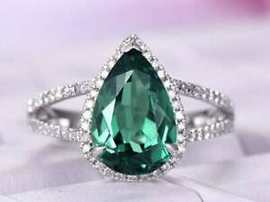 4Ct Pear Cut Green Emerald Halo Engagement Ring Solid 14K White Gold Finish