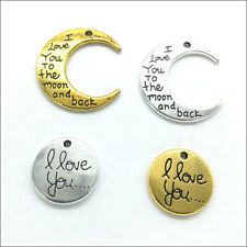 """20X """"I love you to the moon and back"""" Silver Gold Charms Pendants Jewelry Making"""