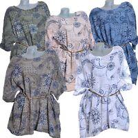 Lagenlook Tunika Cotton Bluse Hemd Leinen Optik 42 44 46 48 50 52 54 56 L XL XXL