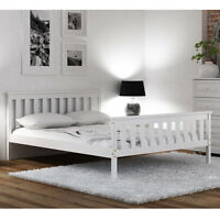 Bed Pine Solid Wood 4FT6 Double 135x190cm White Frame Wooden Grades Pinewood